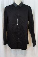 INC International Concepts Mens Shirt L Black Non Leather Trim Slim Fit Button