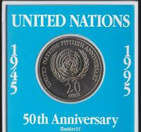 *1995 Australian United Nations 20 cent coin UNC Cased*