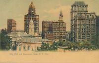 NEW YORK CITY – City Hall and Newspaper Row Glitter Covered Postcard – udb