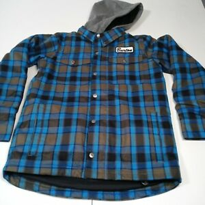 Burton Dryride Youth Medium (10/12) Blue Plaid Jacket Active Winter Coat (NICE)