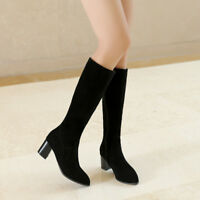 Womens Ladies Faux Suede Zip Mid Heel Legs Knee High Boots Shoes UK Plus Size