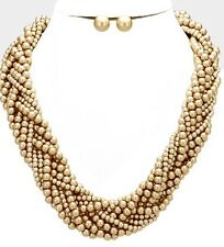 Gold Brown Bib Pearl Crystal Multi Layered Bridal Necklace Set Earring