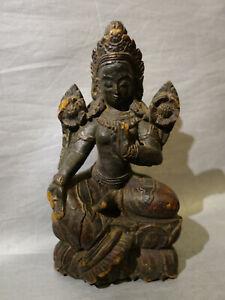 Statuette déesse tara en bois sculpté XIXème