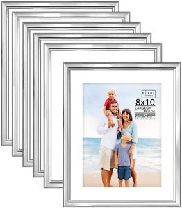 Langdon House 8x10 Picture Frames Set w/Mat (Silver, 6 Pack), Distinguished Edgi