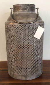 Pottery Barn Large Galvanized Lantern - 19 In Tall - Antique Silver Finish - New