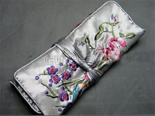 Chinese Gray Silk Wrap Organizer Jewelry Roll Travel Makeup Bag Case Pouch purse