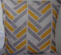 2 X Grey Yellow Geometric AU STOCK Cushion Cover Quality Cotton Linen Sofa 45cm