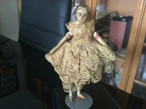 Antique RARE CABINET SIZED MILLINERS DOLL FULLY ORIGINAL ca1850s 15 cm Ht