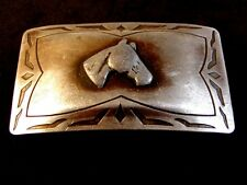 Vintage Western Rodeo Horse Head Silver Belt Buckle