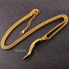 24k GOLD PLATED HORN OF LIFE/PLENTY NECKLACE - w/CHAIN AND GIFTBOX - UNISEX
