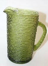Vintage Collectible Glass Anchor Hocking SORENO 1960s Avocado Green Pitcher
