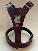 DOG HARNESS /LEATHER/FRENCH BULLDOG MEDIUM HARNESS- REAL LEATHER- DOG HARNESS -