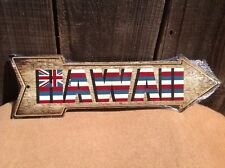 """Hawaii State Flag This Way To Arrow Sign Directional Novelty Metal 17"""" x 5"""""""