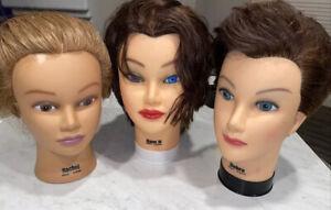 3 Burmax Cosmetology Mannequin Head 100% Real Human Hair Debra Sam II Ratchel