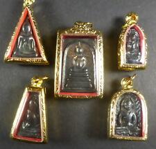 REAL LEK LAI Black Jewel of Thailand BENJAPAKEE SET of 5 Thai Buddha Amulets