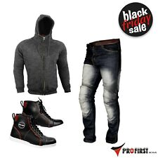 Casual Clothing Motorcycle Leather Sneakers Fleece Hoodie & Denim Jeans Armoured