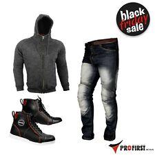 Casual Clothing Motorcycle Leather Sneakers Fleece Hoodie & Denim Jeans Armoured