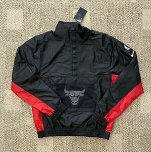 Men's Size XL Nike Pullover Windbreaker Jacket Black Red NBA Chicago Bulls