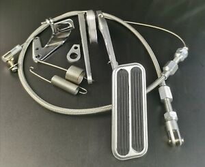 """Universal Aluminum 4x1.5"""" Pad Gas Pedal+24"""" SS Throttle Cable Bracket Spring Kit"""