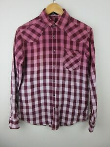Fred Perry Mens Shirt Size L Long Sleeve Button Up Regular Red Ombre Check
