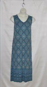 Joan Rivers Regular Alhambra Print V-Neck Maxi Dress Size S Blue
