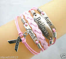 Hope/Believe/Faith/Breast Cancer Awareness Charms Leather Braided Bracelet  pink