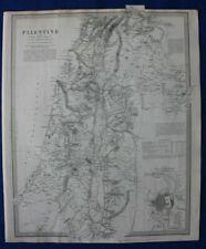 PALESTINE WITH THE HAURAN, JERUSLAEM, original antique map, SDUK 1844