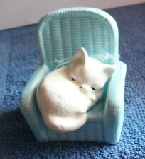 Ceramic Sleeping White Cat in Blue Chair Figurine