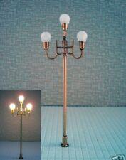 S365 - 5 Stück LED Straßenlampen nostalgisch 3-flam 7,7cm Parkleuchte Marktplatz