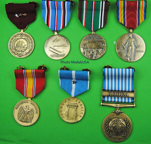7 full size  Navy Medals World War Two and KOREAN WAR Clutch Back (WWII WW2)
