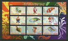 Rwanda Disney Characters & Fishes Sheet Of 9 Mint Never Hinged
