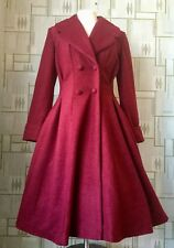 LADIES TAILORED 1940s/50s VINTAGE Swing Style WINTER COAT in Burgundy  8 - 24
