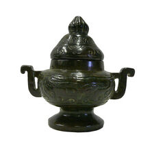 Chinese Oriental Stone Carved Round Incense Container cs691-10