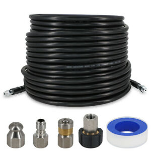 """50/100 Feet Sewer Line and Drain Jetter Kit 1/4"""" Hose with Sewer Nozzle Adapters"""