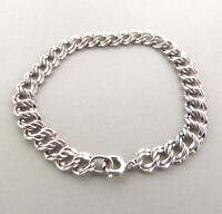 "Sterling Silver Double Loop Starter Charm Bracelet 8mm 7.25""  9.44g."