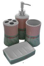 Set 4 Piece Pink/Green Polka Dot Floral Pattern Ceramic Bathroom Accessories