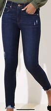 Ann Taylor Loft Women's Jeans Skinny Raw Hem Crop Stretch Size 8 Or 29 X 26 NWOT