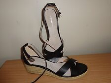 New Women's Black Espadrille Wedges Sandals Size 8