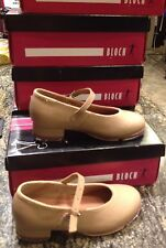 Kids Size 10 Bloch Tan Leather Mary Jane Buckle Tap Dance Shoes New In Box !