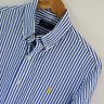 Mens Polo Ralph Lauren Blue White Stripe Long Sleeve Shirt Size M Medium