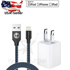 Home Wall Charger +10ft Braid Lightning Cable Heavy Duty for iPhone 7/6S/6/5/5S