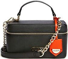 NWT GUESS ALEESHA HANDBAG Black Logo Satchel Crossbody Shoulder Bag GENUINE
