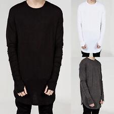Trendy Mens Casual Baggy Long Sleeve Street T-shirts Loose Hip-hop Club Tee Top