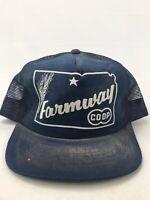 Vintage 1990s FARMWAY CO-OP KANSAS Agriculture SNAPBACK HAT CAP Trucker B2
