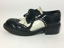 Vintage 1970's round toe B+W stack heel WINGTIPS SPECTATOR OXFORD shoes W8/M6.5