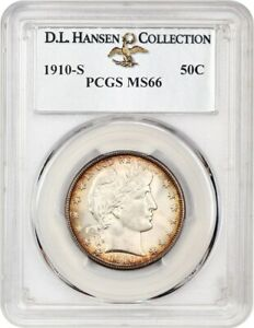 1910-S 50c PCGS MS66 ex: D.L. Hansen - Better S-Mint - Barber Half Dollar