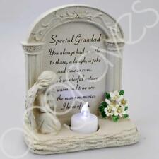 Special Grandad Praying Angel With Flickering Tealight Grave Memorial Plaque