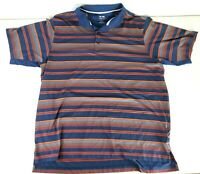ADIDAS Mens Climacool Blue Orange Striped Golf Polo Short Sleeve Shirt Size XL