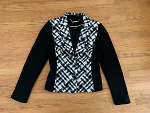 New White House Black Market Womens sz 8 black white tweed blazer jacket