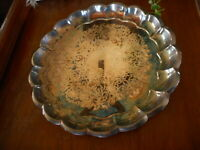 """Etched Silver Plate Tray Vintage Farmhouse Country Decor 13"""" Rustic Flea Market"""